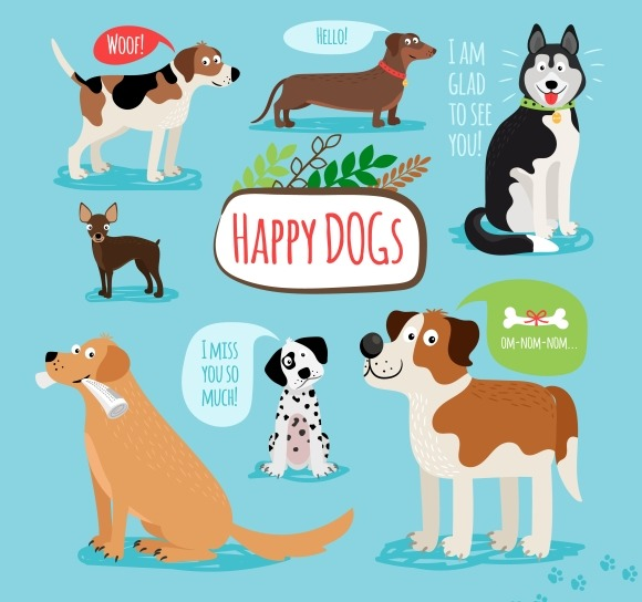 Vector Cartoon Dogs