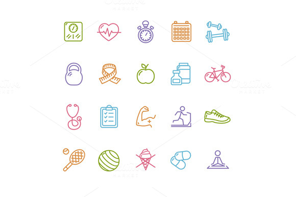 Fytness Health Outline Icon Set