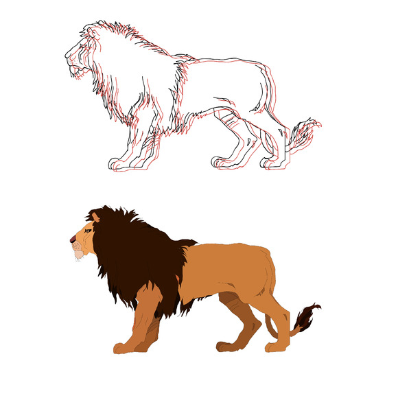 Lion king. Vector isolated animal. - Illustrations