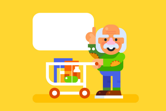 Elderly man at a supermarket. Vector - Illustrations