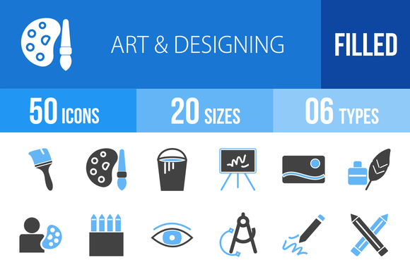 50 Art Designing Blue Black Icons