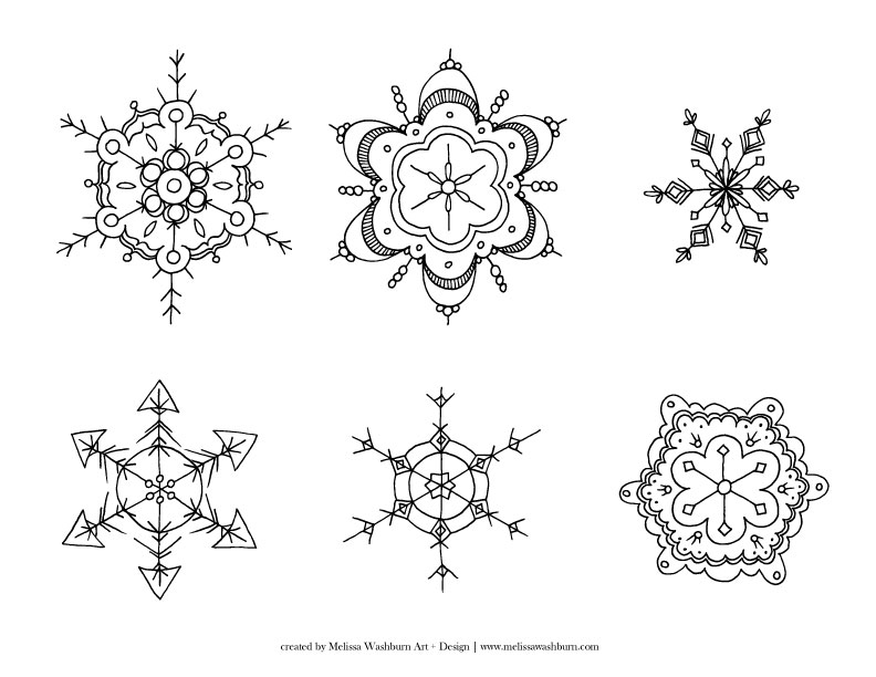 Snowflakes hand drawn vectors illustrations on creative