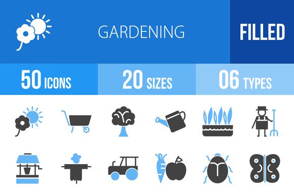 50 Gardening Blue Black Icons