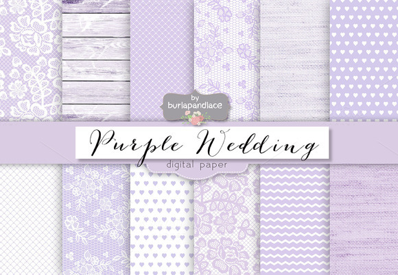 Purple Pale Wedding Digital Paper
