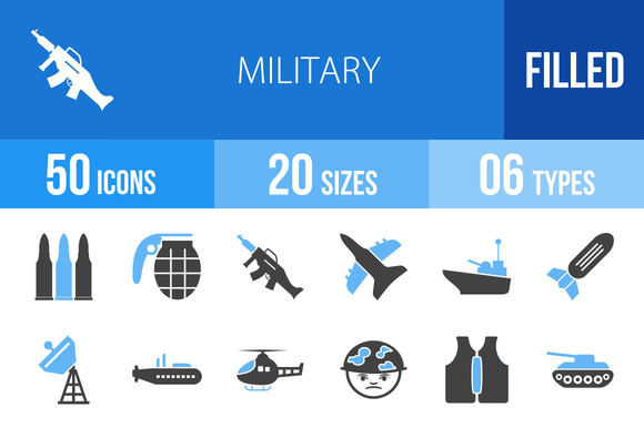 50 Military Blue Black Icons