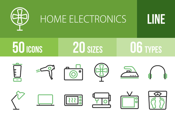 50 Home Electronics Green Black Icon