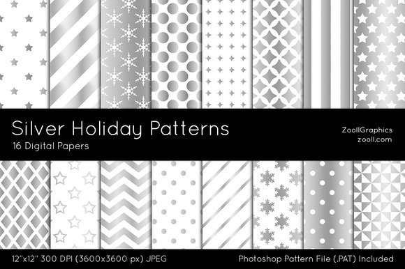 Silver Holiday Digital Papers
