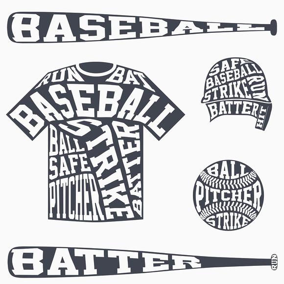 Baseball Symbols With Typography