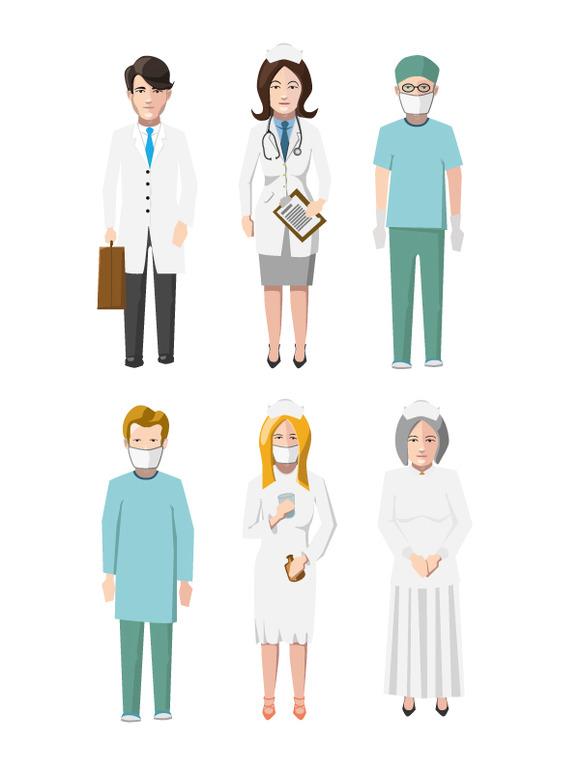 Set Of Six Doctors Flat Characters