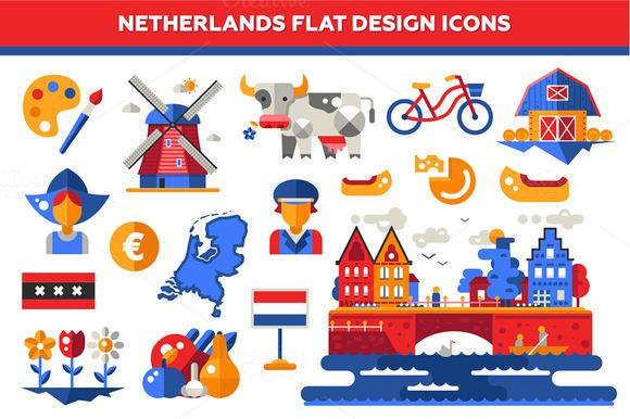 Netherlands Flat Design Icons Set