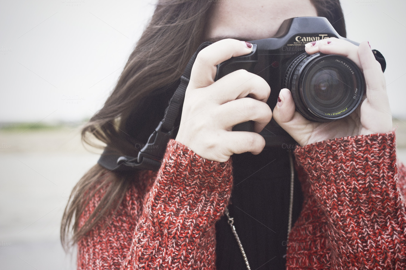 Girl Taking Photo With Film Camera People Photos On