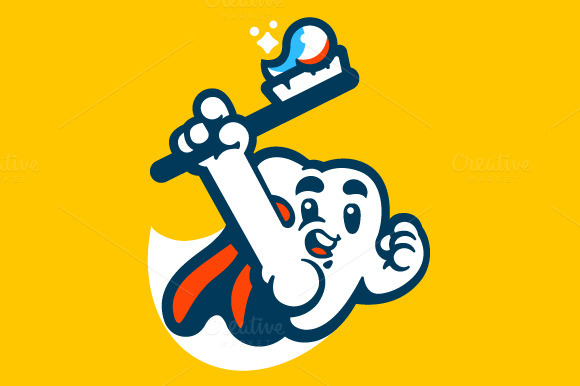 Tooth Super Hero Mascot