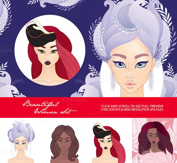 4 Beautiful Woman Fashion Set