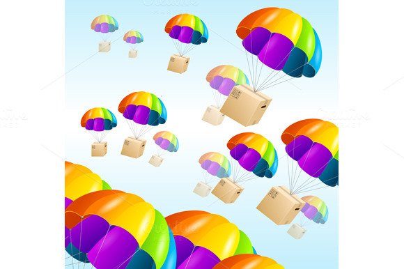 Parachute background. Air shipping. - Patterns