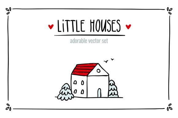 Little Houses Vector Set
