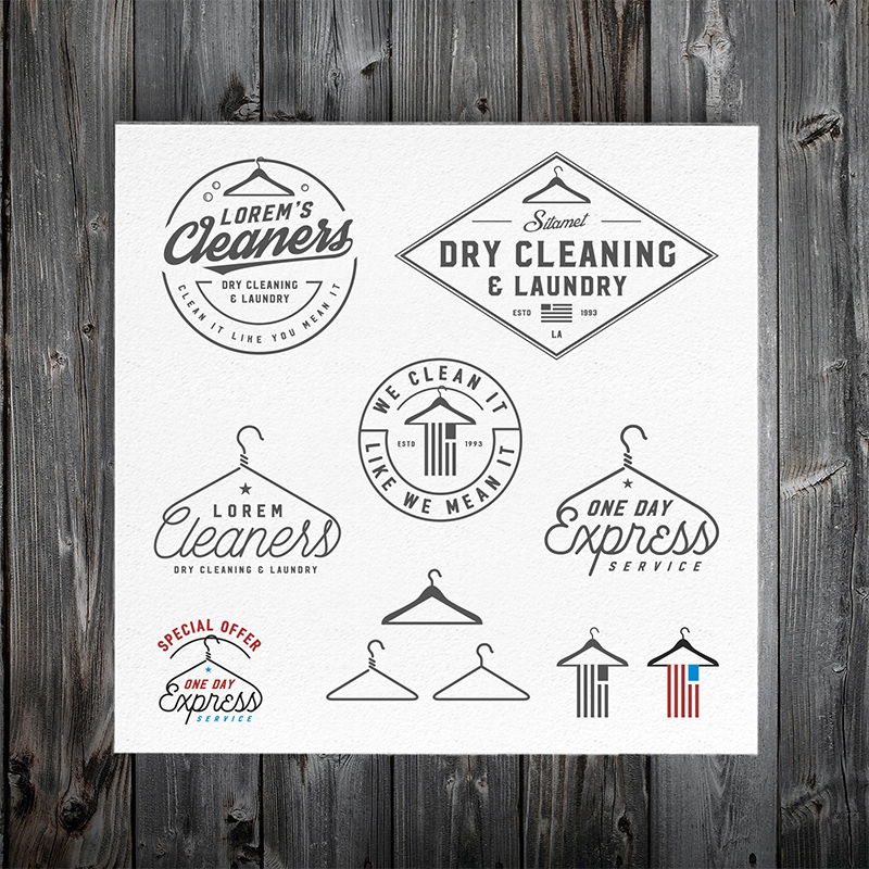 vintage dry cleaning emblems  labels