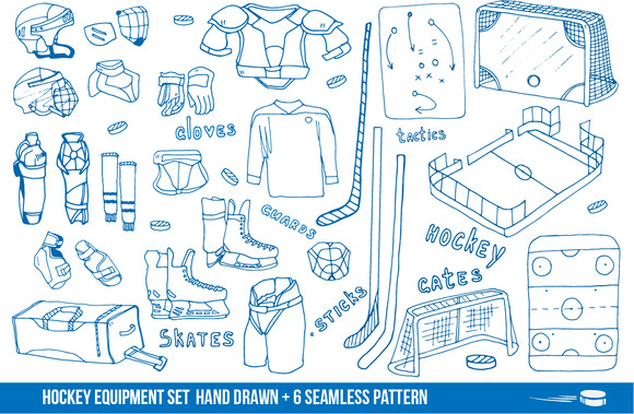 Hockey Items Icons 6 Patterns
