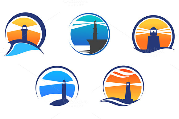 Colorful Lighthouse Symbols Set