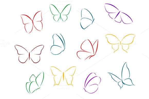Butterflies Color Silhouettes