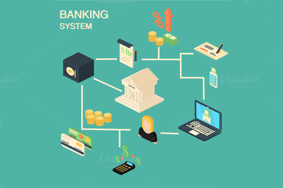 Bank Concept With Isometric Symbols