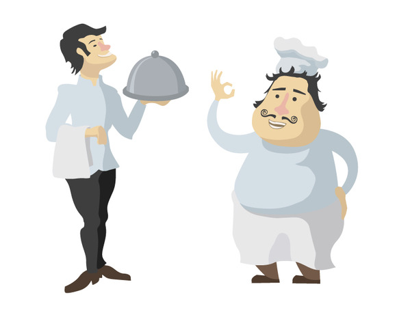 Characters Of Cook And Waiter