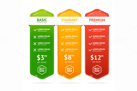 Pricing List Set. Vector - Illustrations