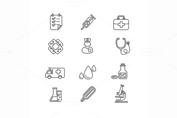 Medical Icon Outline Set Vector