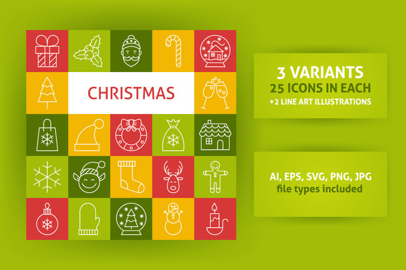 Christmas Line Art Icons