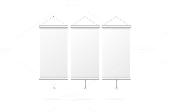 Blank Roll Up Poster Set. Vector - Objects
