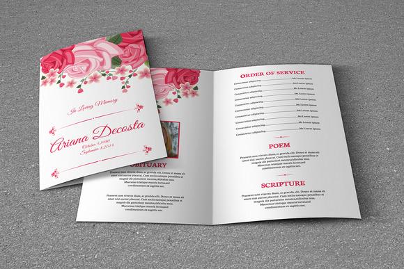 Floral Funeral Program Template-V224