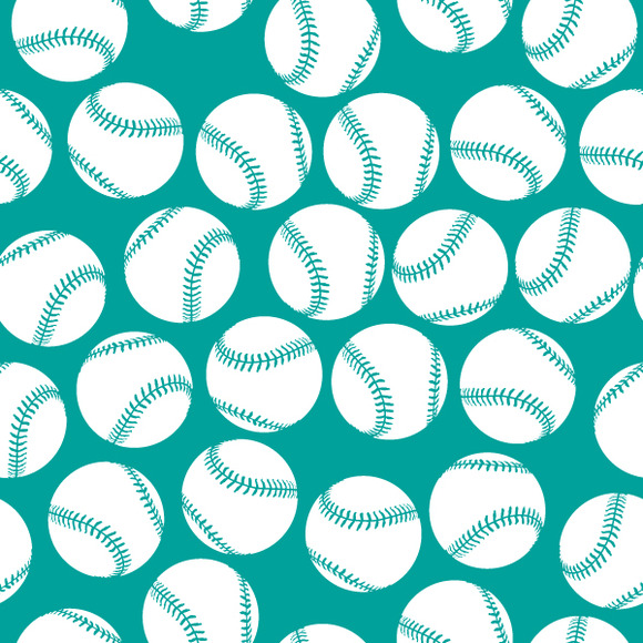 White Baseball Icons On Green