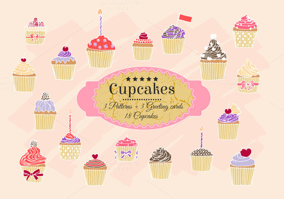 Hand-drawn Cupcakes Patterns Cards