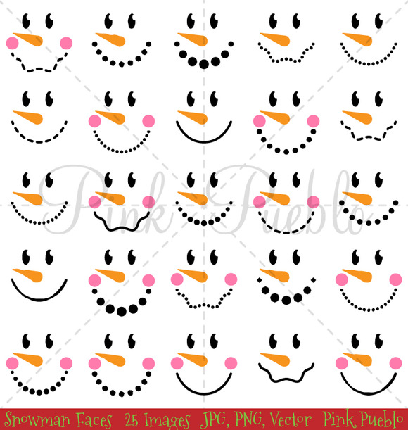 Snowman Faces Clipart & Vectors ~ Illustrations on Creative Market