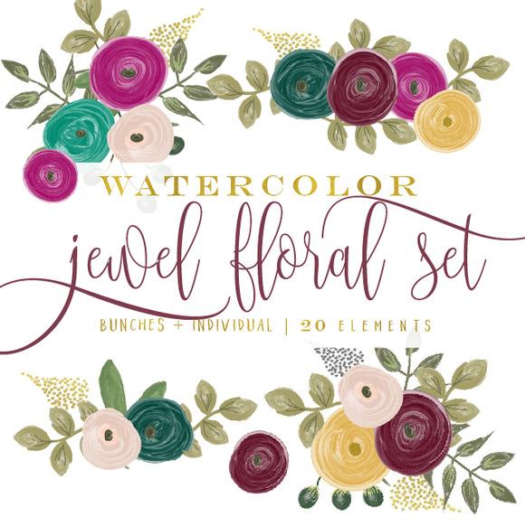 Jewel Tone Watercolor Floral Clipart