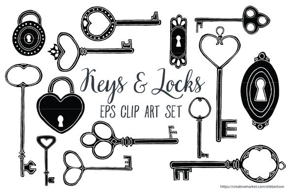 Keys and Locks Clip Art Vector EPS ~ Illustrations on ...
