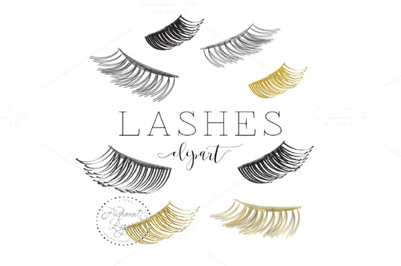Watercolor Lashes Clipart