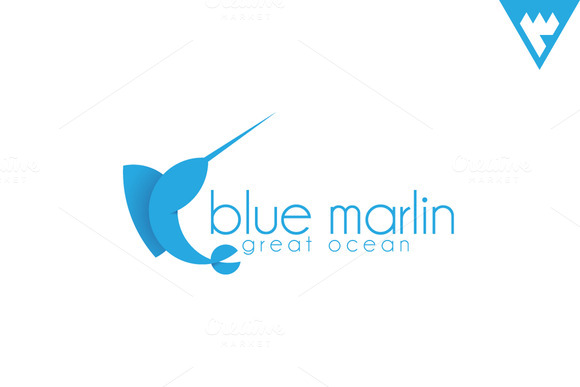 blue marlin logo logo templates on creative market