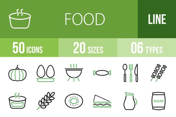 50 Food Green Black Icons