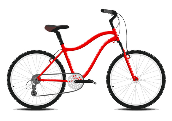 Red Bicycle on a white. Vector. - Illustrations