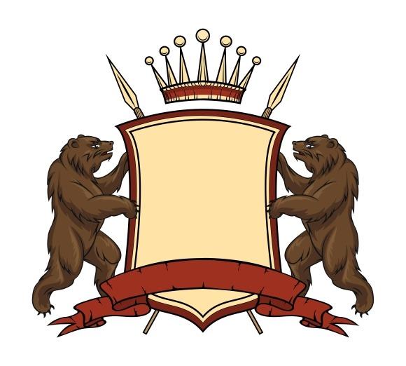 Heraldic logo element. Bears with sh - Graphics