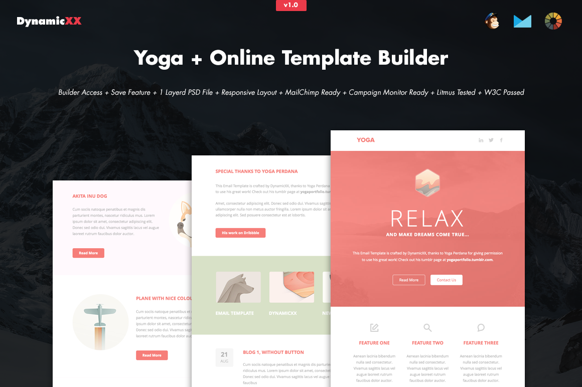yoga online template builder email templates on creative market. Black Bedroom Furniture Sets. Home Design Ideas