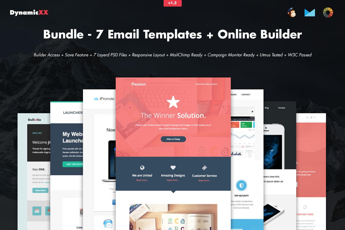 bundle 7 email templates builder email templates on creative market. Black Bedroom Furniture Sets. Home Design Ideas