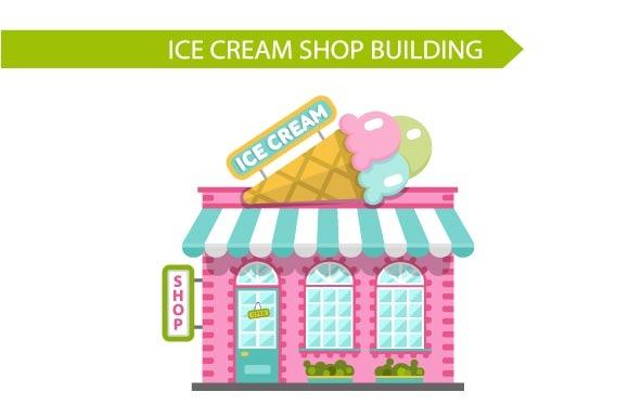Vector Ice Cream Shop Building