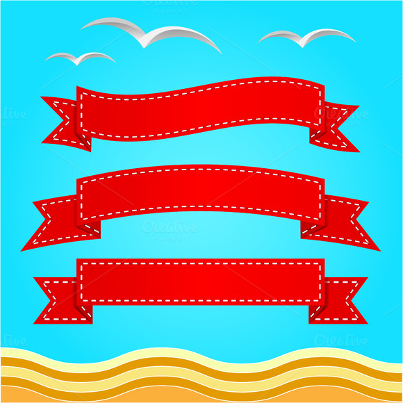 Vector banner set. Ribbons. - Illustrations