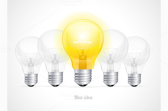 Bulb Icon With Idea Concept Vector
