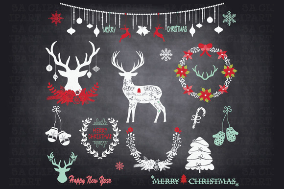 Chalkboard Christmas Clipart