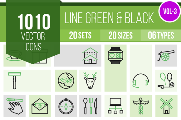 1010 Line Green Black Icons