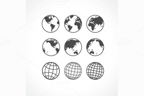 Globe Icon Set. Vector - Objects