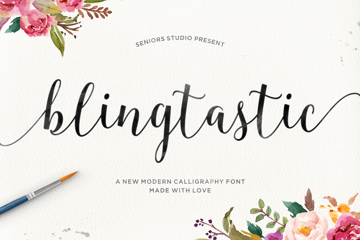 Blingtastic script fonts on creative market