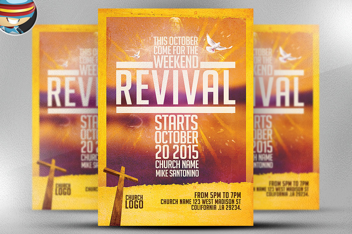 Church revival flyer template flyer templates on for Free church revival flyer template